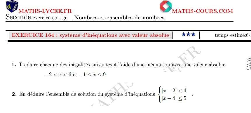 MATHS-LYCEE.FR exercice corrigé maths seconde Lien intervalle centré et inéquation