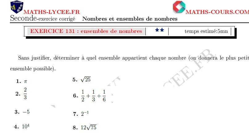 Maths Lycee Fr Exercice Corrige Maths Seconde Ensembles De Nombres Et Notations