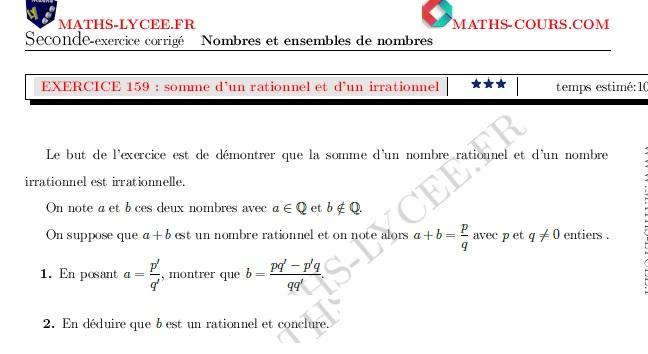 Maths Lycee Fr Exercice Corrige Maths Seconde Somme D Un Rationnel Et D Un Irrationnel