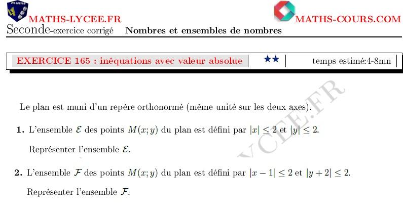 Maths Lycee Fr Exercice Corrige Maths Seconde Syteme D Inequations Avec Valeurs Absolues