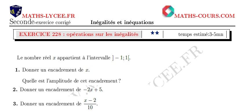 Maths Lycee Fr Exercice Corrige Maths Seconde Encadrements D Un Nombre