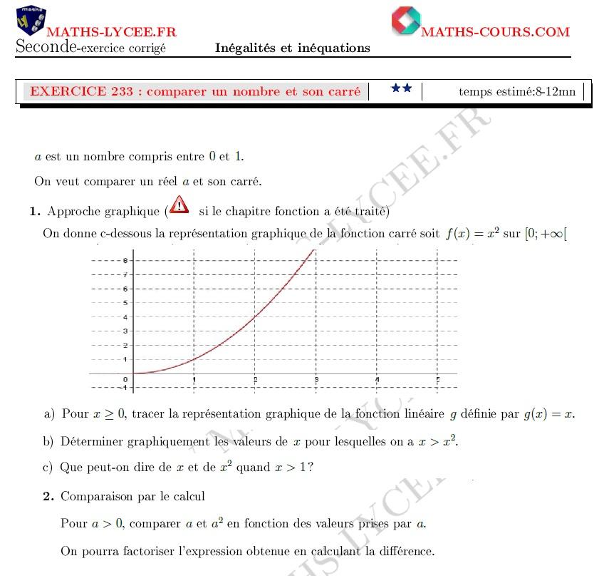 Maths Lycee Fr Exercice Corrige Maths Seconde Comparaison D Un Nombre Et De Son Carre