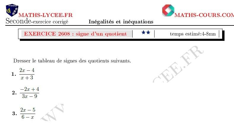 Maths Lycee Fr Exercice Corrige Maths Seconde Tableau De Signes D Un Quotient