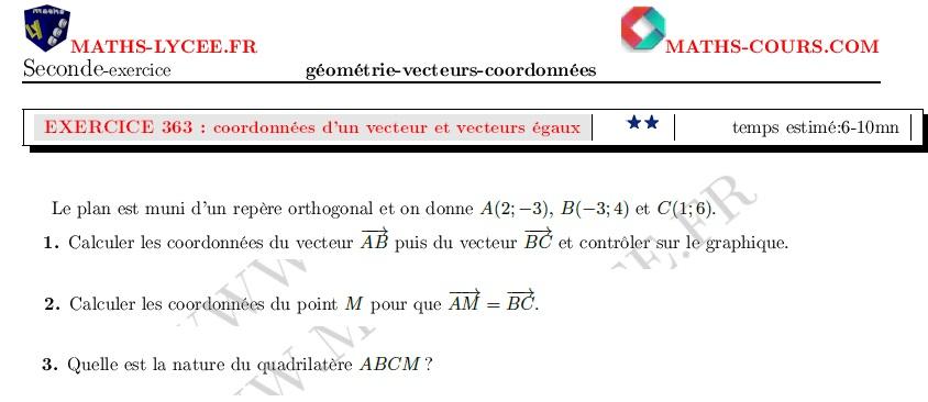 Maths Lycee Fr Exercice Corrige Maths Seconde Coordonnees D Un Vecteur Vecteurs Egaux
