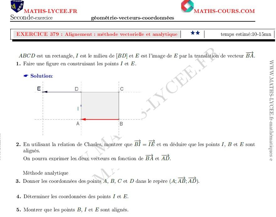 Maths Lycee Fr Exercice Corrige Maths Seconde Justifier Un Alignement Methode Vectorielle Et Analytique