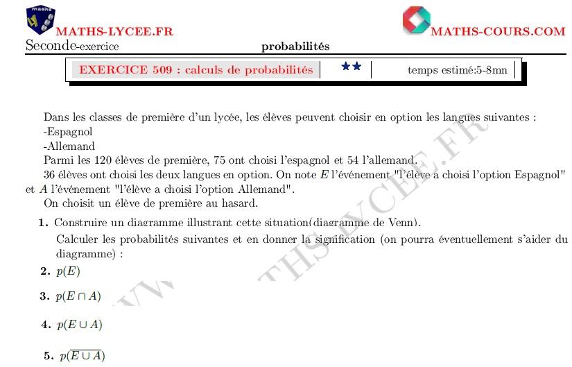 Maths Lycee Fr Exercice Corrige Chapitre Probabilites