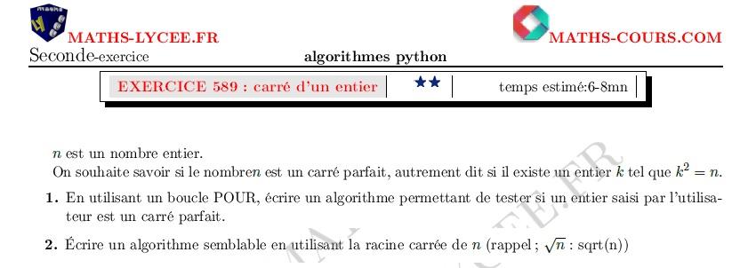 Maths Lycee Fr Exercice Corrige Maths Seconde Carre Parfait