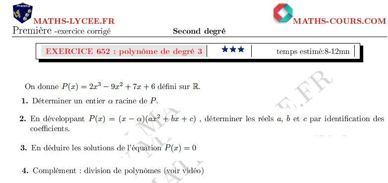 Maths Lycee Fr Exercice Corrige Chapitre Second Degre