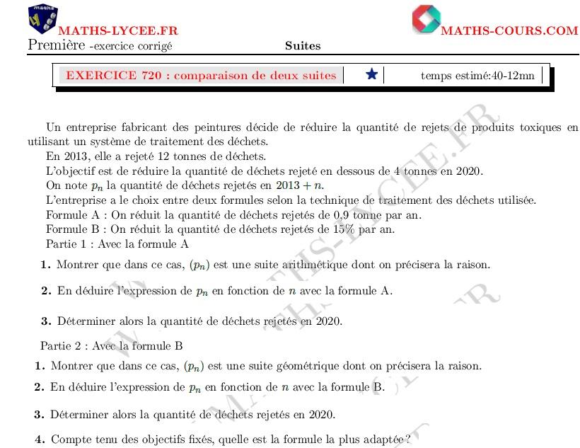 Maths Lycee Fr Exercice Corrige Maths Premiere Specialite Comparaison De Deux Suites