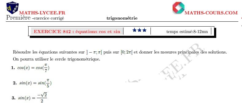 Maths Lycee Fr Exercice Corrige Chapitre Trigonometrie